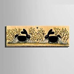 WWJ E-HOME? Two Rabbits Clock in Canvas 1pcs , 35 x 12