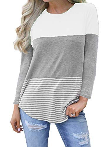 kigod Womens Casual Long Sleeve Color Block T-Shirt Blouses Back Lace Striped Tops Tee Shirts (White, Small)