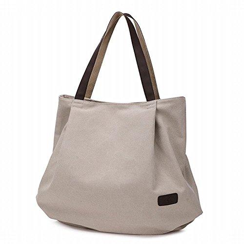 Hung Kai Toile de grande capacité multi-usages toile dames simple toile sac sac à main Beige