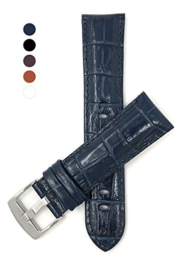 Mens' 24mm Blue Alligator Style Genuine Leather Watch Band Strap, Glossy