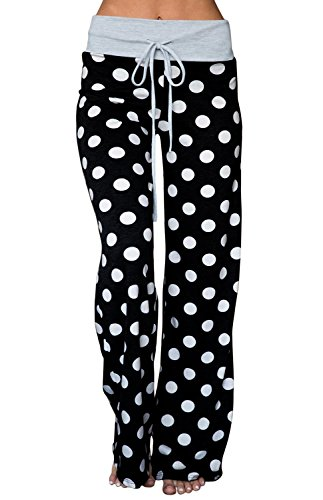 (AMiERY Women's Black Pajama Bottoms Pants Cotton Stretch Comfy Palazzo Lounge Polka Dot (Black, Tag)