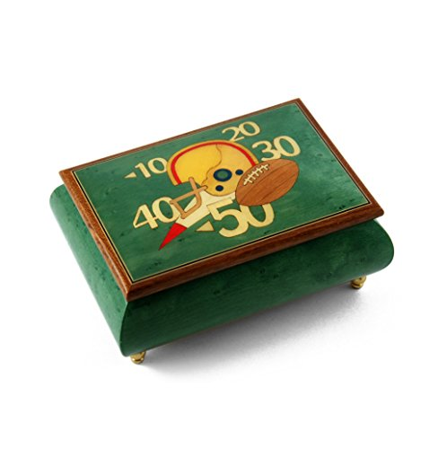 Sports Theme Wood Inlay: Football - Collectible 18 Note Musical Jewelry Box - Heaven is in Blue Hawaii (Paul Koy) - SWISS by MusicBoxAttic