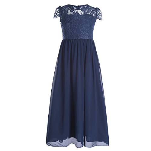 iiniim Girl's Chiffon Lace Pageant Party Wedding Bridesmaid Flower Girl Dress Navy Blue 8