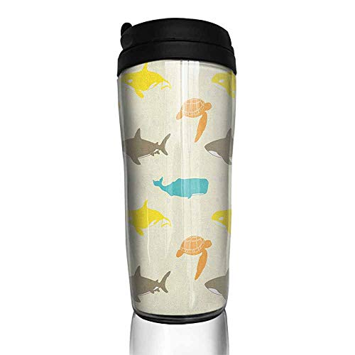 coffee cups set of Sea Animals,Pattern with Whale Shark and Turtle Aquarium Doodle Style Marine Life, Ivory Taupe Peach 12 oz,coffee k cup filter for ground coffee ()