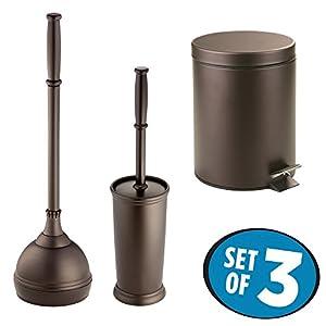 mdesign bathroom accessory set plunger with holder bowl brush with holder step. Black Bedroom Furniture Sets. Home Design Ideas