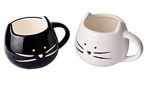 Lovely Cute White & Black Cat Coffee Milk Tea Ceramic Mug Cup Christmas Birthday Best Gift ,Set of 2