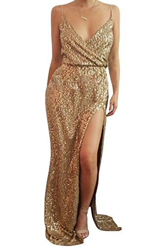 - Dora Bridal Women Sexy Sequins Lace Evening Dress V-Neck Formal Gowns with High Split US6 Gold