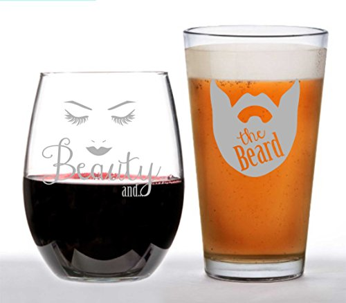 Beer Glass and Stemless Wine Glass Set (Beauty and the - With Glasses Beards