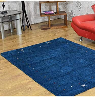 Rugsotic Carpets Hand Knotted Gabbeh Silk and Wool 6'7''x9'10'' Area Rug Contemporary Blue LSM109