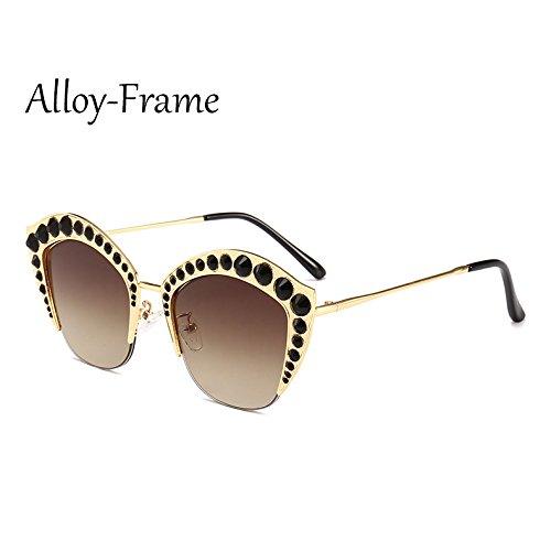 Marco Frame Gafas tonos C6 PC Sunglasses Rhinestone Alloy de señoras ojo sexy Medio sol de G161 gafas C9 gato Mujer TL de de marco Ug5xn5Tq