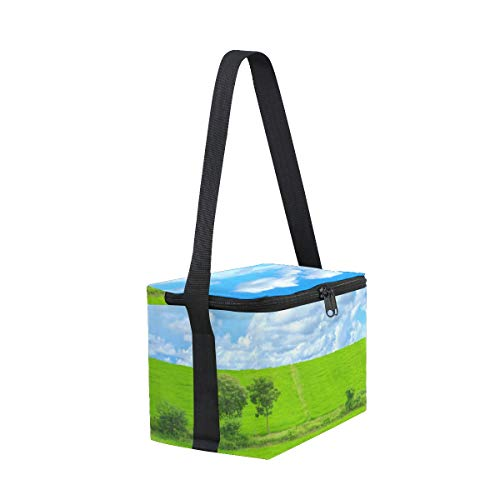 Cooler for Lunch Strap Bag Picnic Shoulder Lunchbox Glass Green Blue Sky aZ4wUXq
