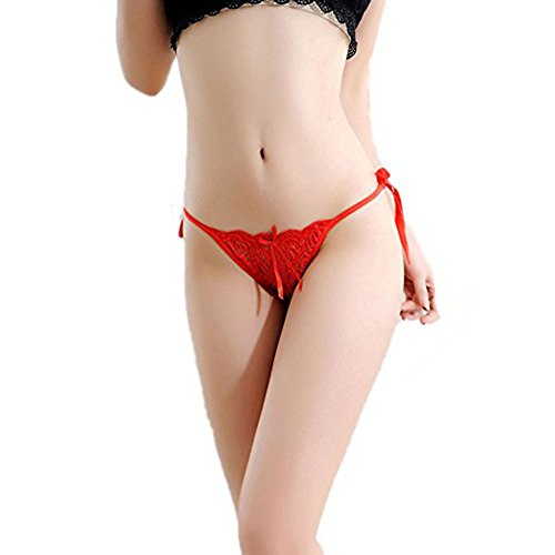77b724cb4 Huahan Extension Women Tie Side Bowknot Ribbons Sexy Lace Thongs Panties  Adjustable G-String Underwear (Red) - Buy Online in UAE.
