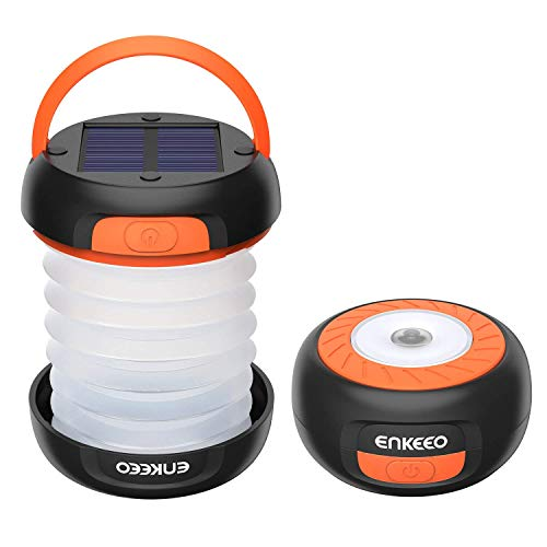 ENKEEO Camping Light Collapsible Lantern LED Flashlight with Rechargeable Battery (via Solar or USB) Portable for Outdoor Hiking Backpacking Tent Emergencies (Orange)