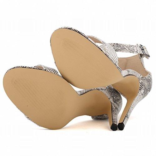 HooH Damen High Heel Sandalen Sommer Peep Toe Ankle Strap Schnalle Pumps Schlangenhaut