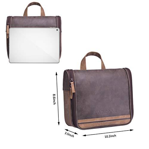3170370047 Hanging Toiletry Bag for Men VANCASE Vintage Leather Shaving Dopp Kit  Medium Waterproof Travel Bathroom Bags
