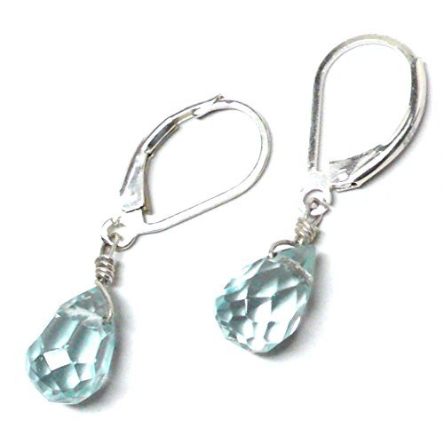 Lab Grown Aqua Quartz 10x6 Briolette Lever Back Earrings Sterling Silver