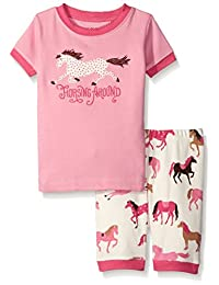 Little Blue House By Hatley Girls' Short Pajama Set-Hearts and Horses