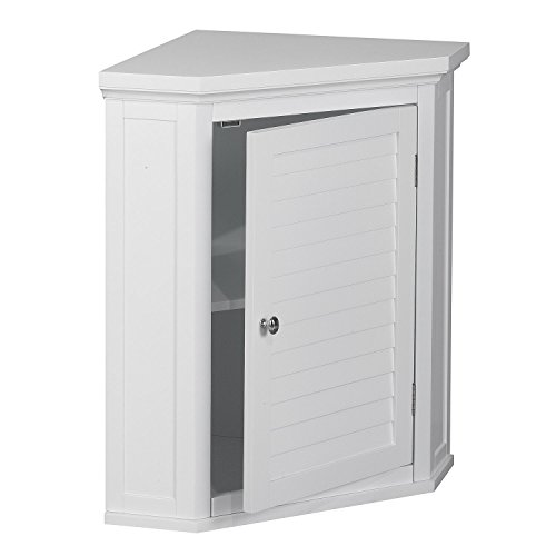 White Shutter Door Corner Wall Storage Medicine Cabinet with Adjustable Shelves for Bathroom or Kitchen SALE! Chrome Knobs and Crown Molded Top by Elegant Home Fashions