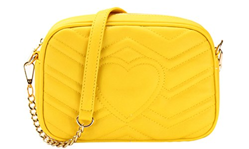 Designer Inspired Chevron Quilted Crossbody Bag (YELLOW)