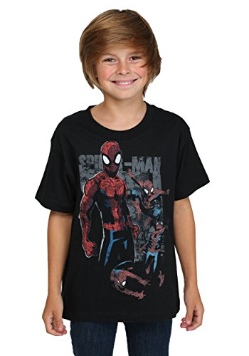 Mad Engine boys Spider-Man Multi Webs Youth Black T-Shirt L (14/16)
