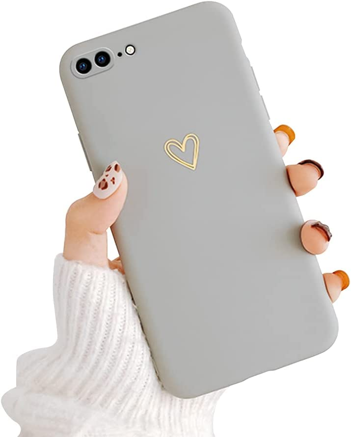 Ownest Compatible with iPhone 7 Plus Case, iPhone 8 Plus Case for Soft Liquid Silicone Heart Pattern Slim Protective Shockproof Case for Women Girls for iPhone 7 Plus/8 Plus-Gray