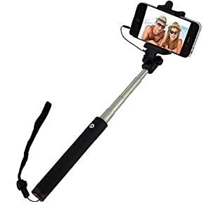 2017 selfie stick monopod extendable pole wired button by trusted cables handheld. Black Bedroom Furniture Sets. Home Design Ideas
