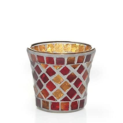Yankee Candle Votive Holder Mosaic Red/gold  sc 1 st  Amazon.com : mosaic candle sconces - www.canuckmediamonitor.org