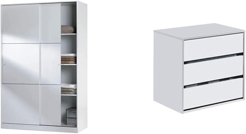 Habitdesign Armario 2 Puertas Correderas y Estantes, para Dormitorio o Habitacion, Modelo MAX + Cajonera Auxiliar 3 cajones, Blanco Mate, 60 cm (Ancho) x 57 cm (Alto) x 44 cm (Fondo)