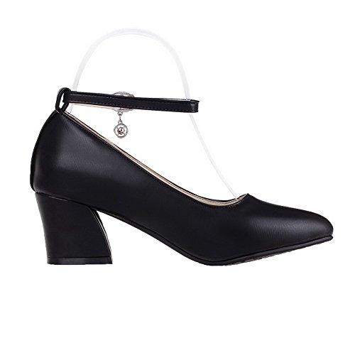 AgeeMi Shoes Damen Spitz Zehe PU Rein Mittler Absatz Schnalle Pumps Schuhe Schwarz