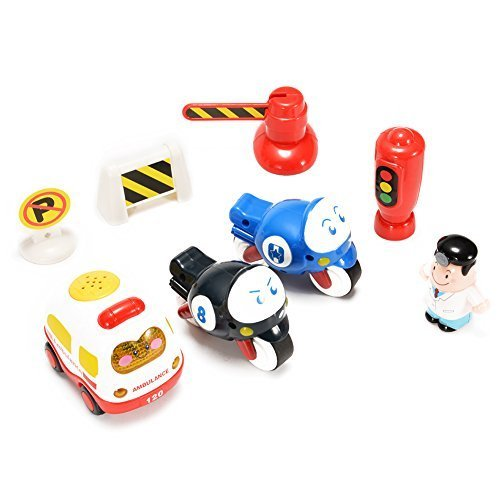 Emorefun Kids Push and Go Friction Powered Mini Car Playset (Ambulance, Motorcycle, Traffic Signs and Figure) with Sound and Light