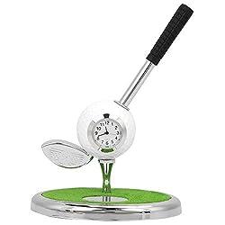 Vbestlife. Mini Desktop Golf Ball Pen Stand, Golf Ball Pen Holder with A Zinc Alloy Clock Desktop Decor Golf Souvenir Gift for Golfer (Wood Pole)