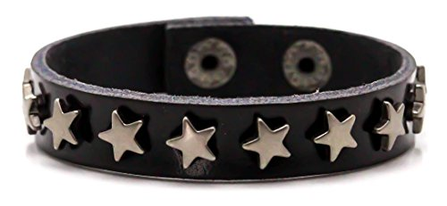 Xusamss Hip Hop Alloy Snap Star Rivet Leather Bracelet Cuffs (Rivet Women Leather Cuff)