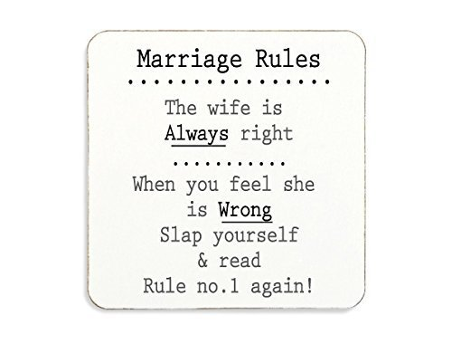 Marriage Rules Cork Coaster Novelty Gift Anniversary Wedding Engagement Funny Present