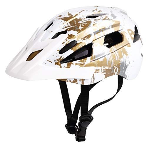 (Merkapa Adult Youth Sports Helmet for Skateboarding Biking Skating White Gold (Youth))