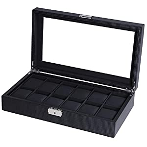 BASTUO Watch Box 12 Watch Display Case Mens Watch Organizer Case with Key&Lock, Black with Glass Top