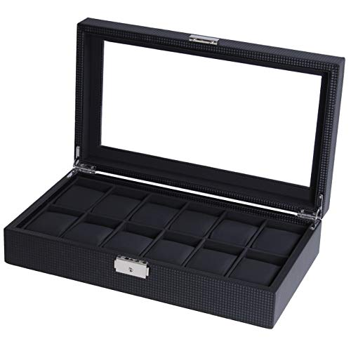 Watch Box Watch Display Organizer Carbon Fiber Leather Watch Storage Case,Black with Glass Top