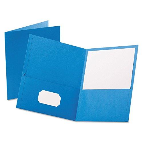 Oxford Twin Pocket Folders - Letter - 8.50quot; Width x 11quot; Length Sheet Size - 100 Sheet Capacity - 2 Pockets - Leatherette Paper - Light Blue - 25 / Box