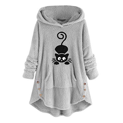 Opinionated Women Plush Button Sweatshirt, Leopard Fleece Cat Ears Coat Tunic Asymmetrical Hem Hooded Top Blouse Sweater (Zim Christmas Sweater)