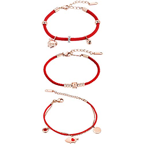 MONIYA Chinese Zodiac Sign Pig Charm Bracelet for Women Cubic Zirconia Red Rope Good Luck Symbol Jewelry (3 Pieces)
