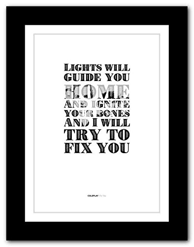 COLDPLAY Fix You - A3 song lyric typography poster art