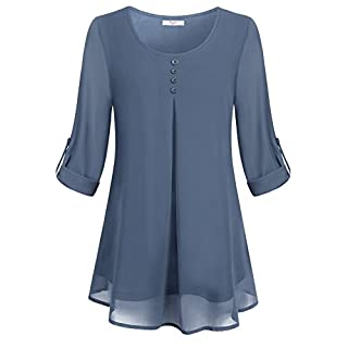 Cestyle Layered Tops for Women, Juniors 3/4 Sleeve Chiffon Tunic Shirts Misses Flare Hem Lightweight Work Blouses to wear with Leggings Steel Gray Medium