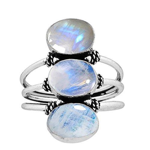 9.80ctw,Genuine Rainbow Moonstone 8x10mm Oval & .925 Silver Plated Handmade Fashion - Moonstone Ring Sterling Rainbow