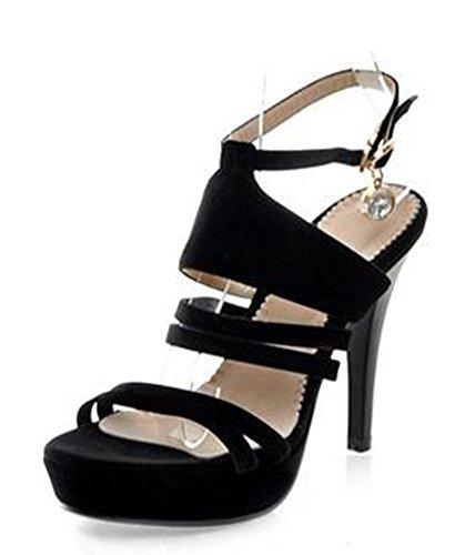 Aisun Bout Ouvert Sexy Aiguille Sandales Noir Femme Talon pqFp7n