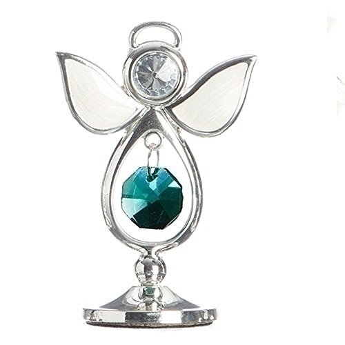 May Clear Bright Green Colored Jewel Bead 3 Inch Birthstone Angel Figurine
