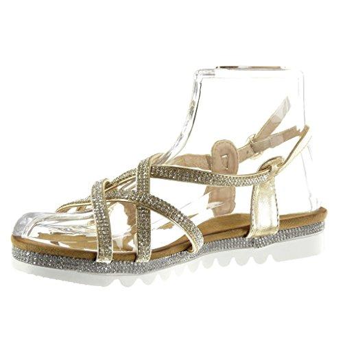 Angkorly - Chaussure Mode Sandale semelle basket femme multi-bride strass diamant boucle Talon plat 2.5 CM - Or