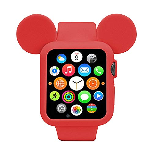 Navor Soft Silicone Protective Case for Cartoon Mouse Ears Compatible for Apple Watch 38mm Series 1/2/3 - Red
