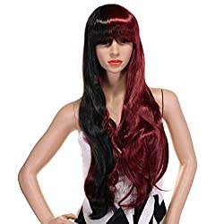 Long Straight Two Colors Hair Wigs with Bangs Cosplay Synthetic Wigs for Women