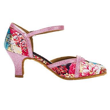 Satin 8 5 Heel Talon 7cm moderne Glitter 5 chaussures Rose9 NOUS UK7 2 intérieur Cuban 3 personnalisable Femmes EU41 de 10 danse Sandales talons 4