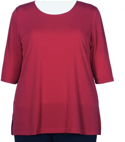 Red 3/4 Sleeve Round Neck Pullover Top Woman's Plus Size Top