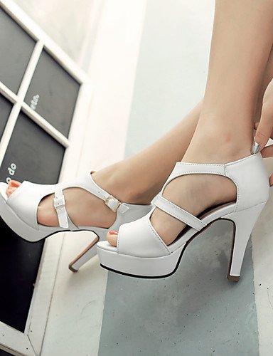 LFNLYX Zapatos de mujer-Tacón Robusto-Punta Abierta / Plataforma-Sandalias-Boda / Vestido / Fiesta y Noche-Semicuero-Amarillo / Blanco / Gris Gray